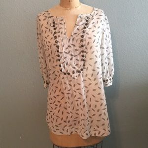 Angie sheer feather print tunic, Sz L